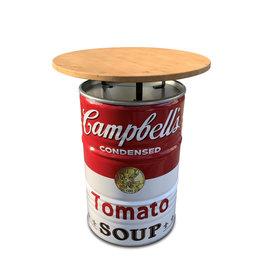 Barrelkings Campbell's soup statafel met houeten blad 80x105 cm