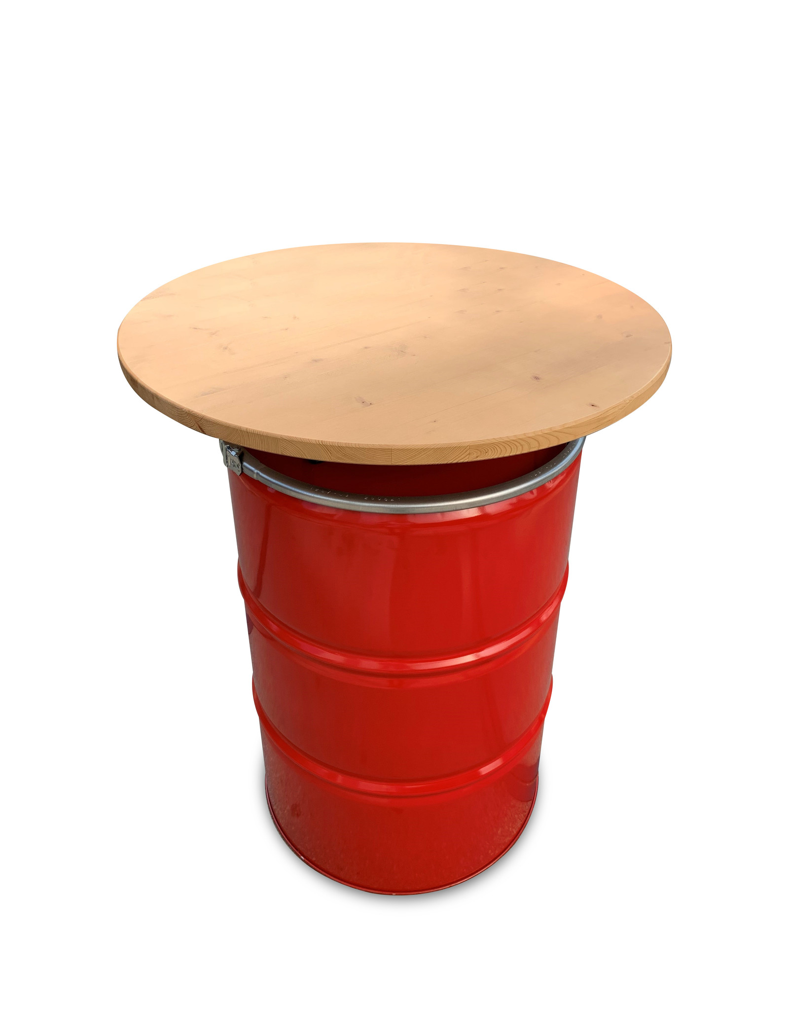 Barrelkings Ölfass  Stehtisch 200 Liter mit Holzplatte  80x105cm
