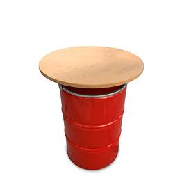 Barrelkings Ölfass  Stehtisch rot 200 Liter mit Holzplatte  80x105cm