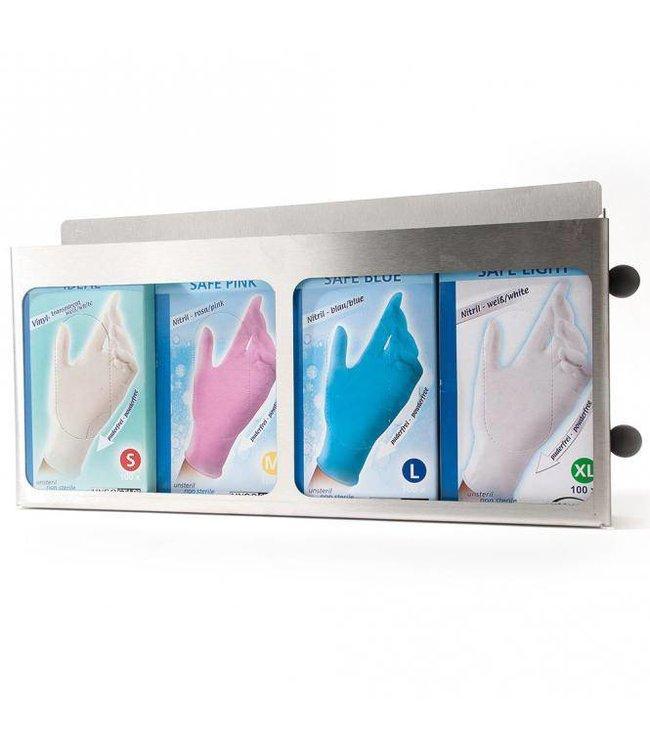 Hygostar -Handschoen dispenser DAMIR roestvrijstaal voor 4 verpakkingen