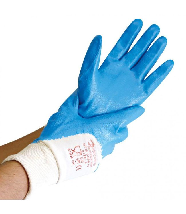 Hygostar - Detecteerbare werkhandschoenen NITRIL DETECT, 3/4 gecoat - FINN