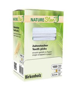 NatureStar Tandenstoker per stuk in papier gewikkeld Berkenhout - VERINO