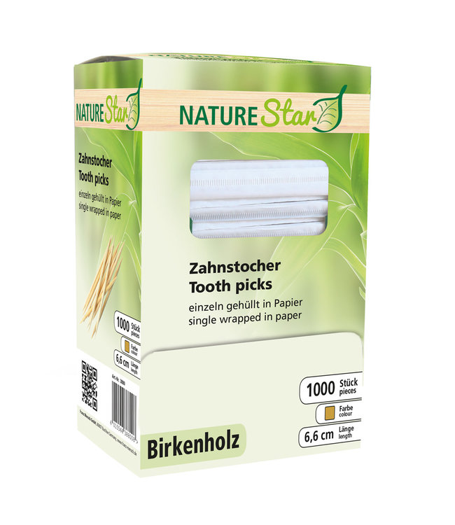 NatureStar - Tandenstoker per stuk in papier gewikkeld Berkenhout - VERINO