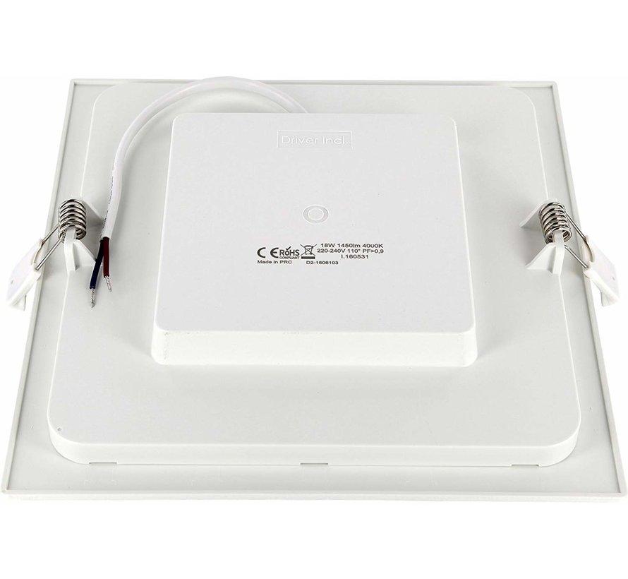 LED Einbaustrahler flach eckig - 18W - Downlight square - 230V - Einbau Durchmesser 200x200mm