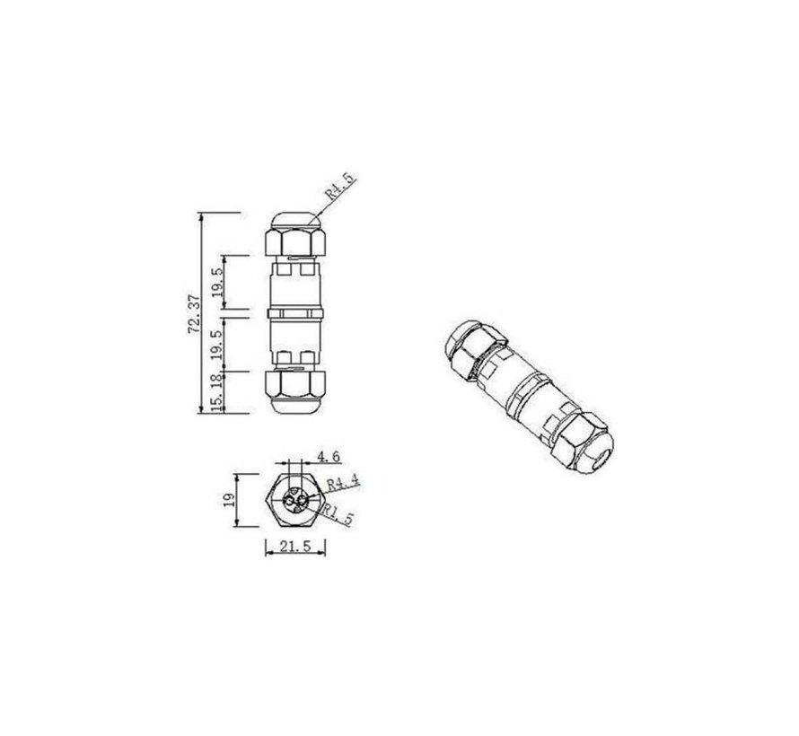 Kabelverbinder IP68 - Wasserdicht - 2 und 3 polig 0.5 - 1 mm²