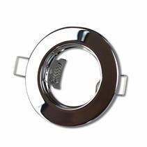 LED GU10 / MR16 Strahler - 60mm Einbaurahmen - Chrom - Rund - nicht schwenkbar - Außenmaß 80mm