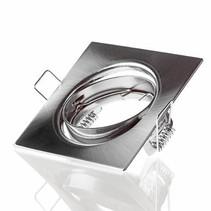 LED Strahler 72mm Einbaurahmen - gebürstet Edelstahl - Quadrat 80x80mm - schwenkbar