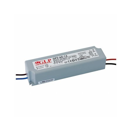 GLP LED Netzteil Transformator - 12V 60W 5A - geeignet für 12V LED Beleuchtung - IP67 wasserdicht