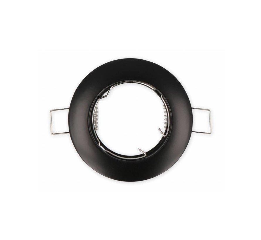 LED GU10 / MR16 Strahler - 75mm Einbaurahmen - Schwarz Alu - Rund - schwenkbar - Außenmaß 85mm