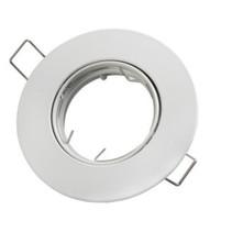 LED GU10 / MR16 Strahler - 80mm Einbaurahmen -  Weiß  - Rund - schwenkbar - Außenmaß 92 mm