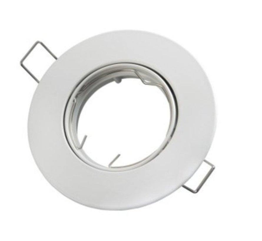 LED GU10 / MR16 Strahler - 75mm Einbaurahmen -  Weiß  - Rund - schwenkbar - Außenmaß 92 mm