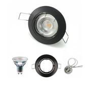 Dimmbare LED-Deckeneinbaustrahler GU10 komplett - Rund - Ø 80MM - IP20 -  5.5W  - Rahmen Schwarz - Lichtfarbe optional - 230V