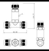 T Kabelverbinder IP68 - Wasserdicht - 2 und 3 polig 0,5 - 2,5 mm²