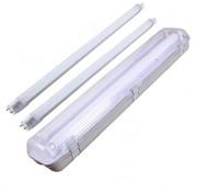 Set - 120cm Doppelfassung - IP65 Feuchtraum - Wannenleuchte + 2 x 18W LED Röhren - 6000K - 865 - Kaltweiße Licht Farbe - Komplett