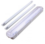 Set - 150cm Doppelfassung - IP65 Feuchtraum -Wannenleuchte + 2 x 24W LED Röhren 6000K - 865 - Kaltweiße Licht Farbe - Komplett