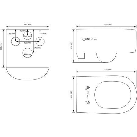 "Best-design Best-Design ""Short-Free-49-Zonder-Spoelrand 2.0"" wandcloset 49 cm incl.zitting"