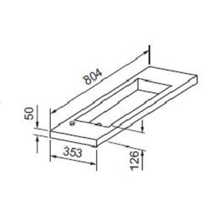 """Best-design Best-Design """"Slim"""" wastafel voor meubel 80cm (ondiep) 35 cm zonder kraan gat"""