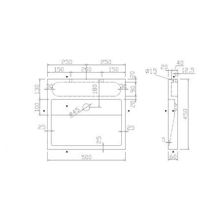 "Best-design Best-Design ""Lot-50"" opbouw-wastafel Limestone 50x45x6cm z/krgat"