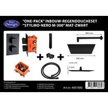 """Best-Design """"One-Pack"""" inbouw-regendoucheset """"Stylmo-Nero M-300"""" mat-zwart"""