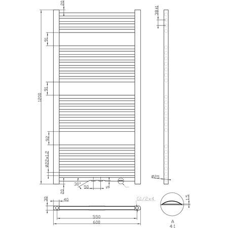 """Best-design Best-Design """"Antraciet Zero"""" radiator recht model 1200x600mm"""