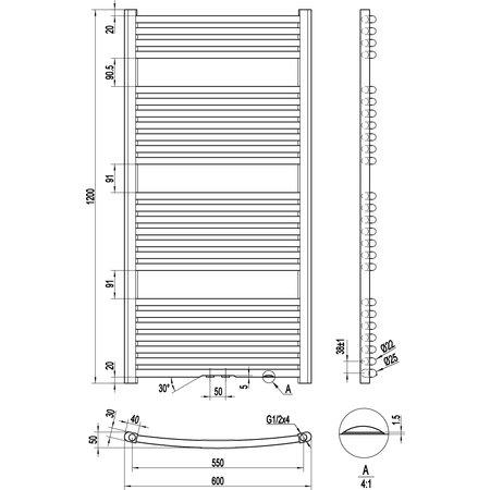 "Best-design Best-Design ""One"" radiator gebogen model 1200x600 mm"