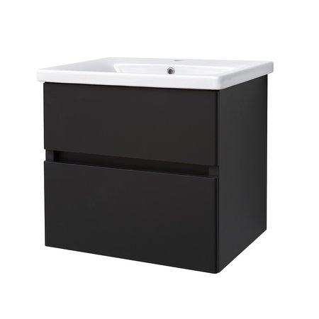 "Best-design Best-Design ""Quick-Black-Greeploos"" meubel onderkast + wastafel 65 cm mat-zwart"