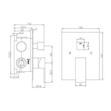 """Best-design Best-Design """"Monte"""" inbouw douchemengkraan + omstel 2 functies incl.Inb box"""