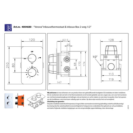 """Best-design Best-Design """"One-Pack"""" inbouw-regendoucheset """"Verona-M-200"""""""