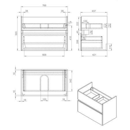 """Best-design Best-Design """"Quick-Grey-Greeploos"""" meubel onderkast + wastafel 80 cm Grijs-Eiken"""