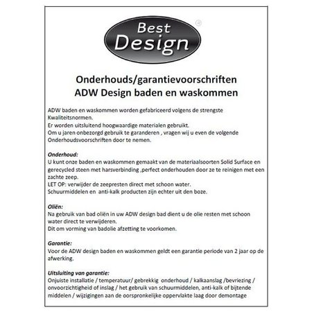 """Best-design Best-Design """"Opera"""" wastafel ( inclusief 1 kraangat ) """"Just-Solid"""" 80x42x10cm"""