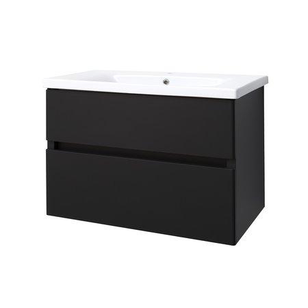 "Best-design Best-Design ""Quick-Black-Greeploos"" meubel onderkast + wastafel 80 cm mat-zwart"