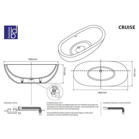 "Best-design Best-Design ""Cruise"" vrijstaand bad ""Just-Solid"" 180x80x60cm"