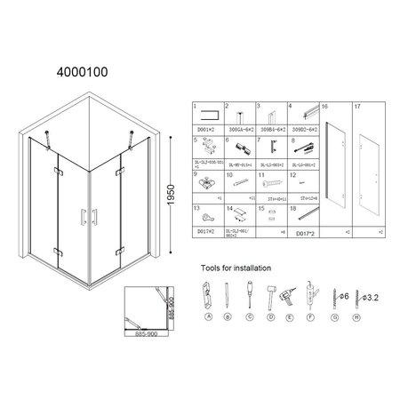 "Best-design Best-Design ""Erico"" Q4 vierkant hoekinstap 90x90x195cm NANO glas 6mm"