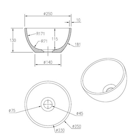 """Best-design Best-Design """"Isan"""" fontein opbouwkom """"Just-Solid"""" 25cm"""