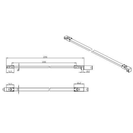 """Best-design Best-Design Muur-Stabilisatie-Stang Zwart 1090 mm voor """"For-You"""""""