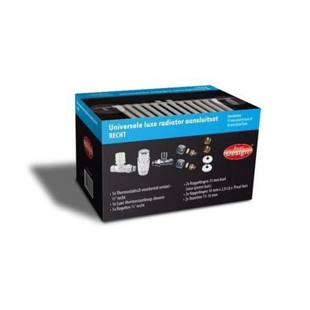 """Best-design Best-Design Luxe radiator-aansluitset """"Recht"""" universeel (DS-BLAUW)"""