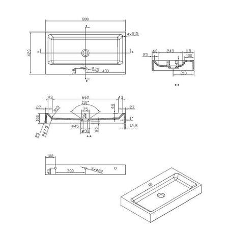 """Best-design Best-Design """"Nero-Opera-80"""" wastafel """"Just-Solid"""" 80x42x10cm Mat-Zwart"""