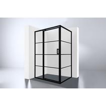 """Best-Design Douchecabine Zwart """"Zeplin-1400"""" met nisdeur 1400x900x2100x8mm"""