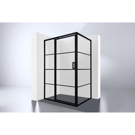 """Best-design Best-Design Douchecabine Zwart """"Zeplin-1400"""" met nisdeur 1400x900x2100x8mm"""