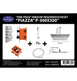 "Best-design Best-Design ""One pack"" inbouw-regendoucheset & Inb.box ""Piazza vierkant P-300x300"""