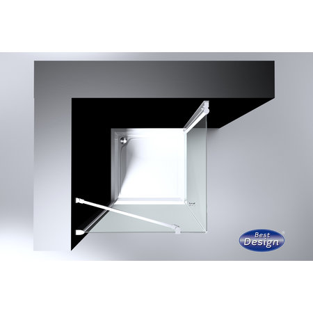 "Best-design Best-Design ""Erico"" vierkante cabine met 1 swing deur 100x100x200cm NANO glas 6mm"