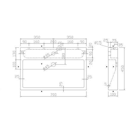 """Best-design Best-Design """"Dieplot-70"""" opbouw-wastafel limestone 70x45x10cm m/krgat"""