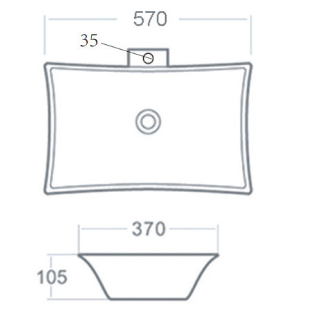 "Best-design Best-Design ""Raaf"" opbouw wastafel M/kraangat 56x37x10,5cm"