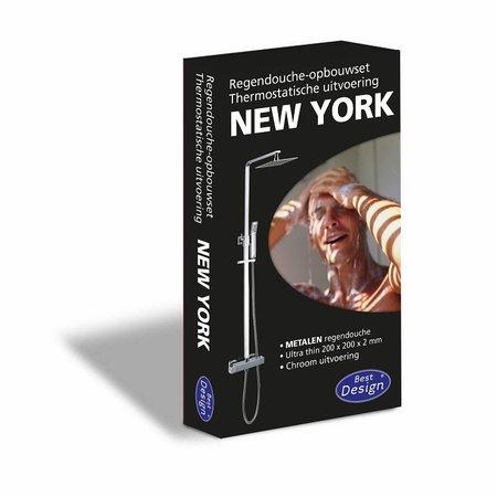 """Best-design Best-Design """"New-York"""" vierkante thermostatische regendouche-opbouwset"""