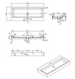 """Best-design Best-Design """"Nero-Opera-100"""" wastafel """"Just-Solid"""" 100x42x10cm Mat-Zwart"""