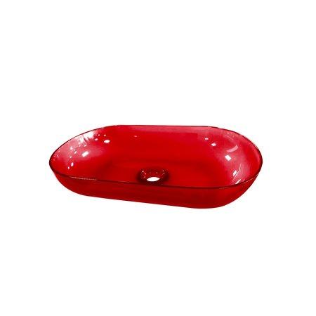 """Best-design Best-Design Opbouw-Waskom Color """"Transpa-Red"""" 54x34x12cm"""