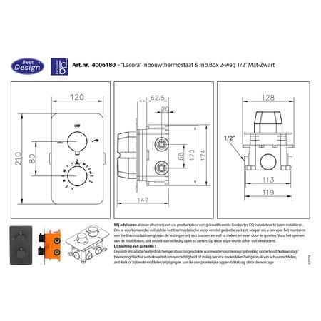 """Best-design Best-Design """"Lacora"""" inbouwthermostaat & inb.box 2-weg 1/2"""" """"Nero"""" ronde knoppen"""