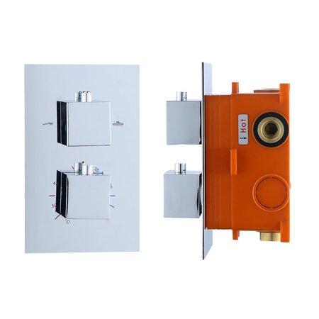 """Best-design Best-Design """"Piazza"""" inbouwthermostaat & Inb.box 2 weg 1/2"""" vierkante knoppen"""