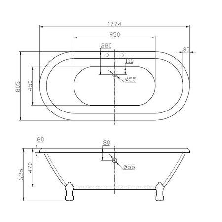 """Best-design Best-Design """"Roll-Top"""" nostalgisch bad 178x81x63 cm inclusief poten"""