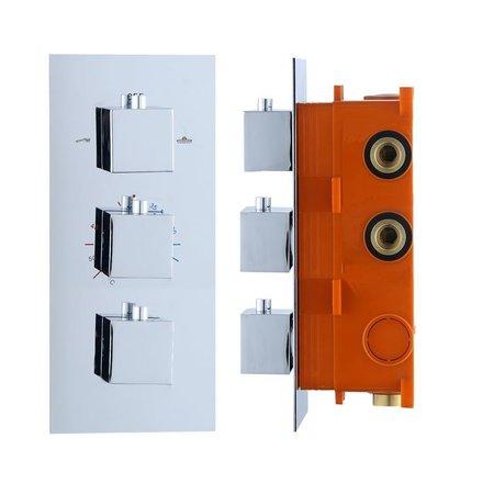"""Best-design Best-Design """"Sano"""" inbouw thermostaat & Inb.box 3 weg 1/2"""" vierkante knoppen"""